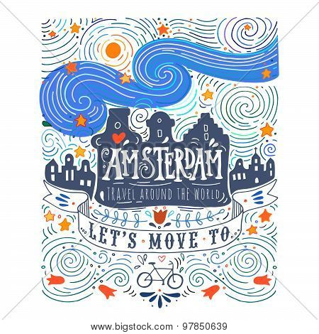 Hand Drawn Vintage Label With Amsterdam Canal Houses In Van Gogh ...