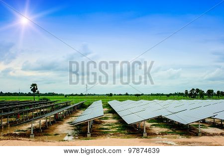 Solar Energy, Green, Solar Cells, Solar Farms Energy, Nature, Sky.