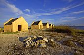 picture of slave-house  - Historical yellow slave huts on Bonaire Caribbean - JPG