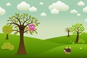 stock photo of fairy-tale  - Fantastic Landscape With Owls Hedgehog And Trees Vector Illustration - JPG