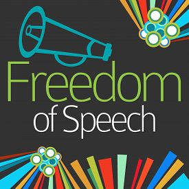 picture of freedom speech  - Freedom of speech text written over dark background with colorful elements - JPG