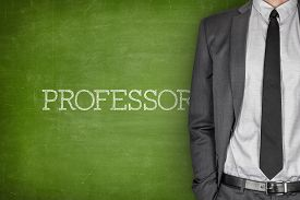 picture of professor  - Professor on blackboard with businessman in a suit on side - JPG