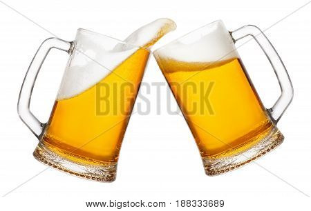 poster of cheers, two mugs of beer toasting creating splash isolated on white background. Pair of beer mugs making toast. Beer up. Golden beer splash.