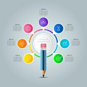Education Infographics Template 7 Step Option. poster