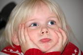 picture of pouty lips  - Four year old blond girl with very fair complexion - JPG