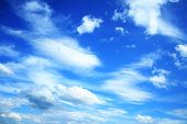 Blue sky with fluffy white clouds poster