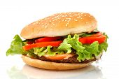stock photo of junk food  - Big appetizing hamburger with vegetables close - JPG