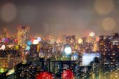 City Nightlife, Blur Bokeh Background poster
