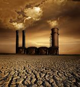 foto of noise pollution  - Global Warming and pollution theme with chimneys - JPG