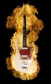 stock photo of potentiometer  - Classic electric guitar burning on black - JPG