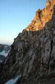 stock photo of beartooth  - Beartooths Mountains during a summer sunrise from the Granite Peak snow bridge - JPG