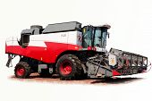 foto of threshing  - grain harvester combine on a white background - JPG