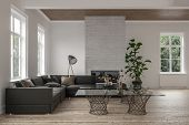 Spacious modern living room interior with fire insert and wooden floor and ceiling furnished with a  poster