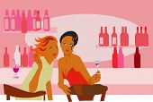 pic of debauchery  - image of two women in the bar - JPG