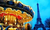 carousel near Eiffel tower in Paris