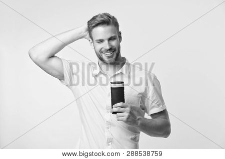 Man Handsome Bearded Hipster Hold