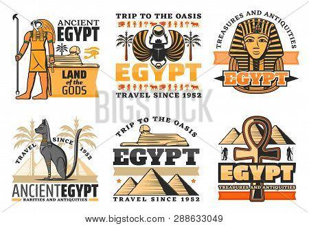 Egypt Travel Icons Egyptian Gods