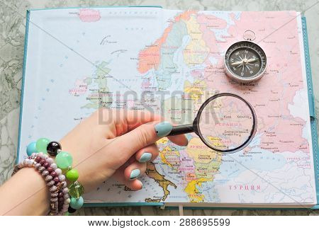 poster of Top View Of A Map And Items. Planning A Trip Or Adventure. Travel Planning Dreams. Map Of The World.