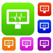 Electrocardiogram Monitor Set Icon In Different Colors Isolated Illustration. Premium Collection poster