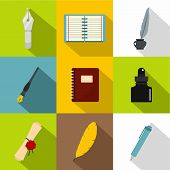 Writer Equipment Icons Set. Flat Set Of 9 Writer Equipment Icons For Web With Long Shadow poster