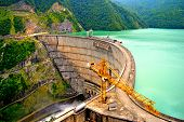 Enguri Hydroelectric Power Station Dam In High Mountains. One Of Highest Dam Of Hydro Power Plant In poster