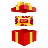 Vector Of Elegant Gift Vouchers With Realistic Red Bows, Gift Boxes, Toys, Ribbons. Festive Backgrou poster