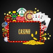 picture of poker machine  - illustration of different casino object with board - JPG