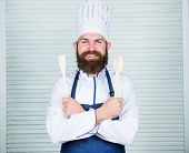 Add Some Spices. Man With Beard In Cook Hat And Apron Hold Cooking Tools. Cooking As Professional Oc poster