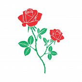 Red Rose Flower Icon. Vector Illustration Of A Beautiful Rose. Hand Drawn Rose. poster