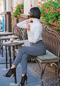 Girl Fashionable Lady With Smartphone. Pleasant Time And Leisure. Relax And Coffee Break. Happy To H poster