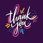 Thank You Phrase. Hand Drawn Vector Lettering Quote. Isolated On Violet Background. poster