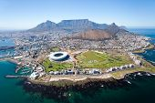stock photo of helicopter  - overall aerial view of Cape Town - JPG