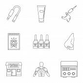 Tattoo Salon Specialist Icon Set. Outline Set Of 9 Tattoo Salon Specialist Icons For Web Isolated On poster