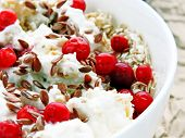 Delicious And Healthy Breakfast With Oat Flakes, Yoghurt, Flaxseed And Cowberry. Energy Breakfast Co poster