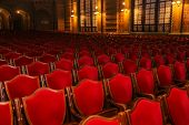 Interior Theater Art. Audience With Empty Soft Armchairs Of Opera And Ballet Theater Is Waiting For poster