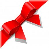 red bow with ribbon vector illustration isolated on white background EPS10. Transparent objects used