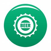 Beer Cap Icon. Simple Illustration Of Beer Cap Icon For Any Design Green poster