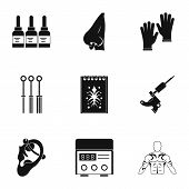 Tattoo Salon Equipment Icon Set. Simple Set Of 9 Tattoo Salon Equipment Icons For Web Isolated On Wh poster