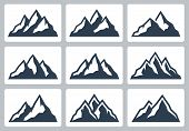 Mountain Silhouettes, Mountain Range Vector Icon Set poster