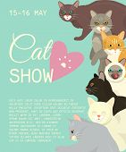 Cats Show Invitation Card Grooming Or Veterinary Feline Flyer Vector Illustration. Cute Kitten Pet P poster