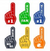 Foam Fingers Icons In Six Colors. Were Number 1. Lets Go. Number One Fan poster