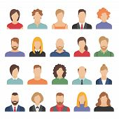 People Business Avatars. Team Avatars Working Office Professional Young Female Male Cartoon Face Por poster