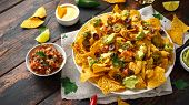 Mexican Nachos Tortilla Chips With Olives, Jalapeno, Guacamole, Tomatoes Salsa, Cheese Dipand Beer. poster