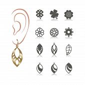 12 Vector Designs Of Earring. Cutout Silhouette With Floral Pattern. Template Is Suitable For Creati poster