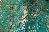 Rusty Metal Wall, Old Iron Sheet, Covered With Rust With Multi-colored Paint. Trace Of Remnant Of Ol poster
