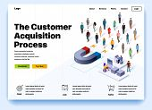 Website Providing The Service Of The Customer Acquisition Process. Concept Of A Landing Page For Cus poster