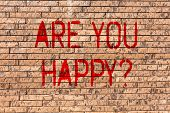 Word Writing Text Are You Happyquestion. Business Concept For Motivation Success Life Celebration Sm poster