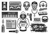 Rap And Hip Hop Music Attributes Set Of Vector Objects Or Design Elements In Vintage Monochrome Styl poster