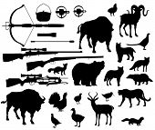 Animals And Birds Silhouettes, Hunting Sport Equipment Icons. Crossbow And Gun Or Rifle, Lighter And poster