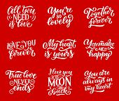 Love And Romantic Confessions Quotes Lettering Calligraphy. Vector Heart Symbols With Love In Air, A poster